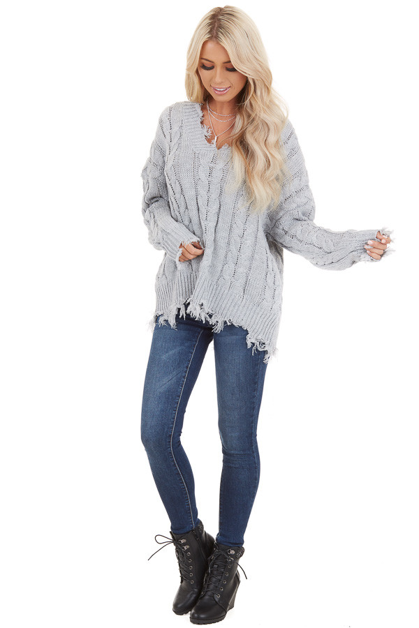 Silver Cable Knit V Neck Sweater with Frayed Hems front full body
