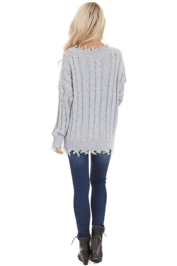 Silver Cable Knit V Neck Sweater with Frayed Hems back full body