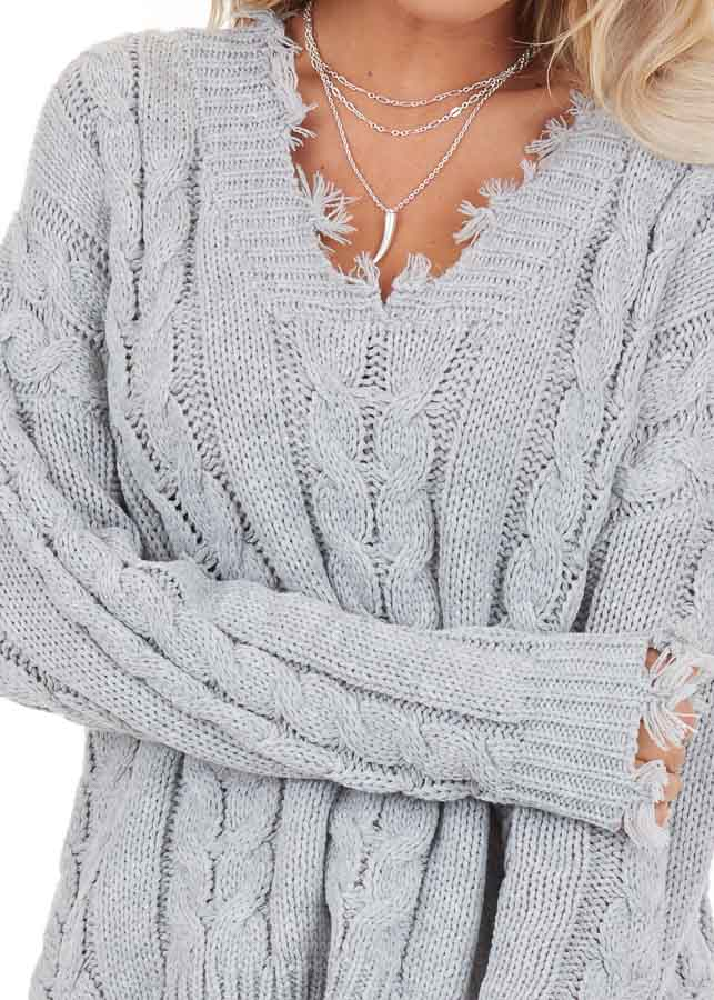 Silver Cable Knit V Neck Sweater with Frayed Hems detail