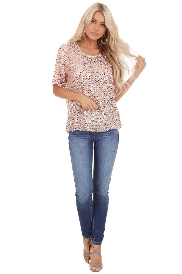 Blush Pink Short Sleeve Top with Rose Gold Sequins front full body