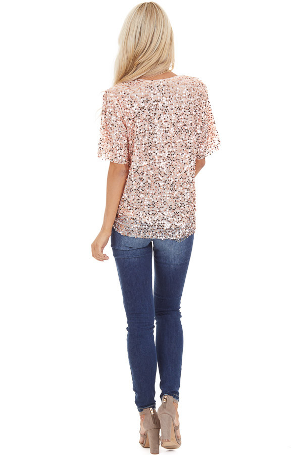 Blush Pink Short Sleeve Top with Rose Gold Sequins back full body