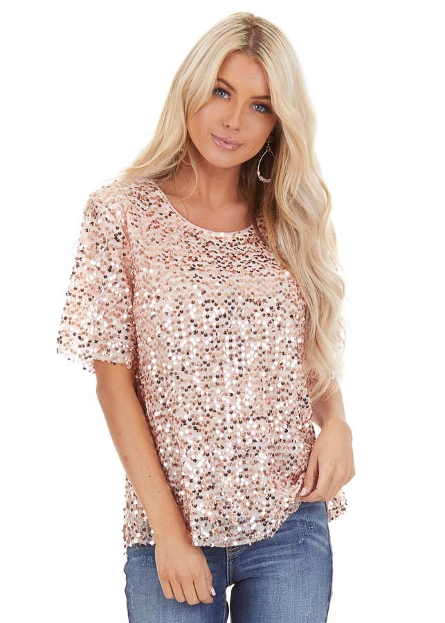 Blush Pink Short Sleeve Top with Rose Gold Sequins front close up