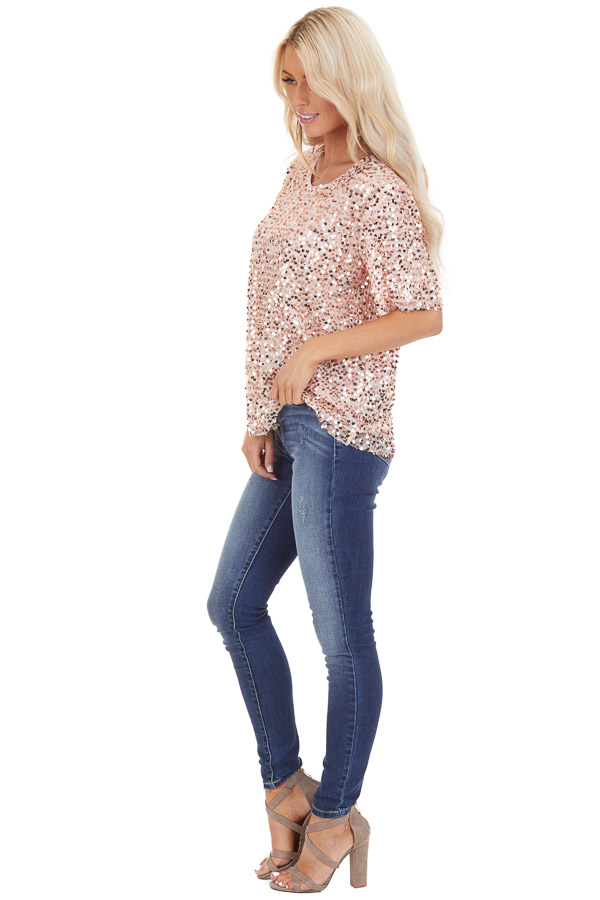 Blush Pink Short Sleeve Top with Rose Gold Sequins side full body