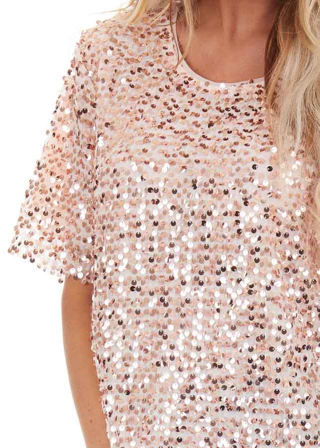 Blush Pink Short Sleeve Top with Rose Gold Sequins detail