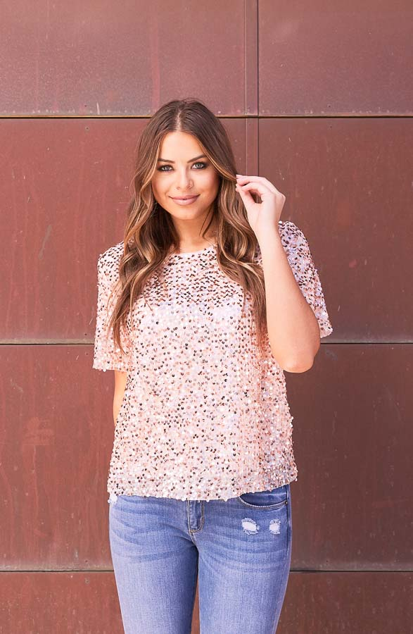 Blush Pink Short Sleeve Top with Rose Gold Sequins