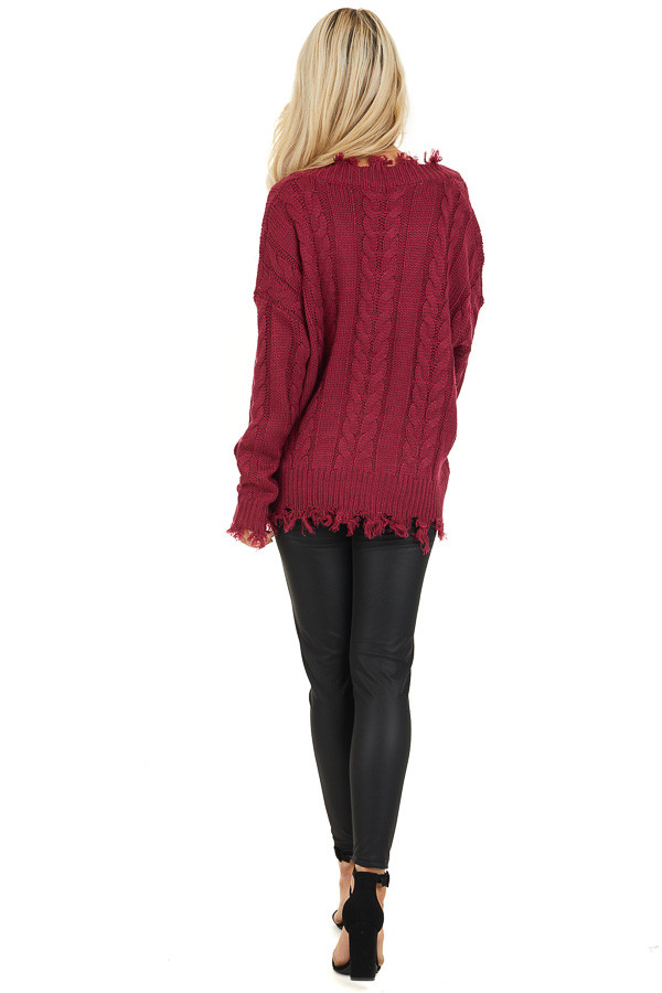 Wine Cable Knit V Neck Sweater with Frayed Hems back full body