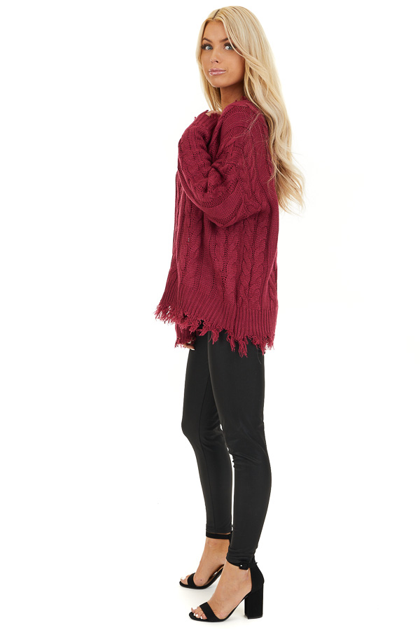 Wine Cable Knit V Neck Sweater with Frayed Hems side full body