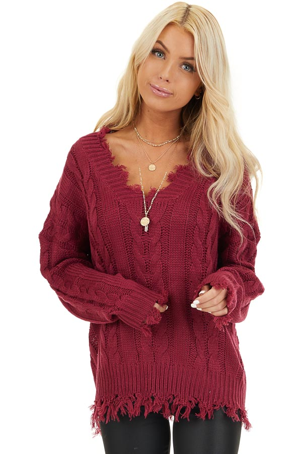 Wine Cable Knit V Neck Sweater with Frayed Hems front close up