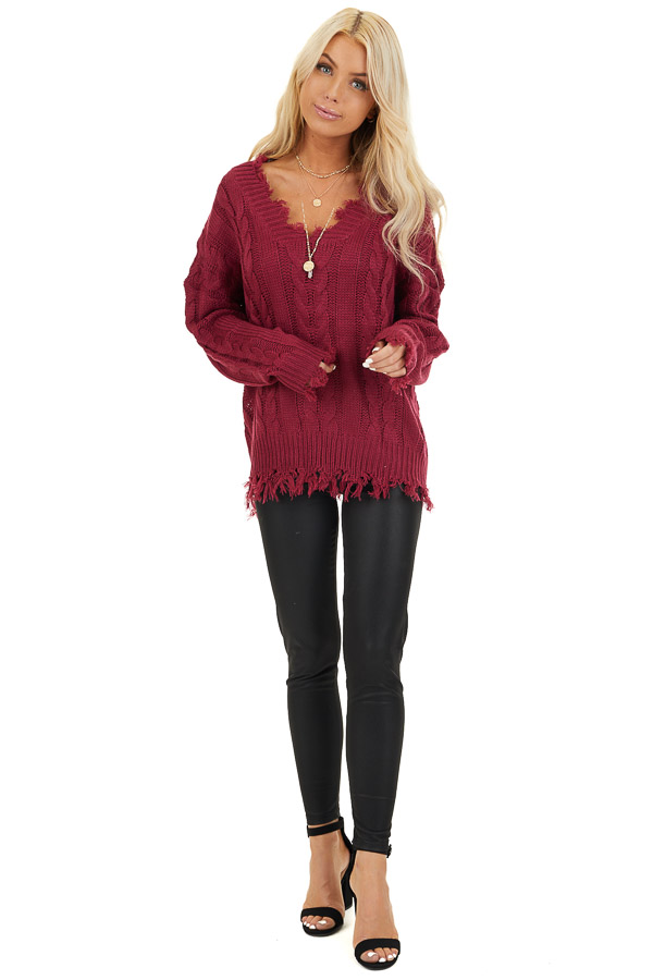 Wine Cable Knit V Neck Sweater with Frayed Hems front full body