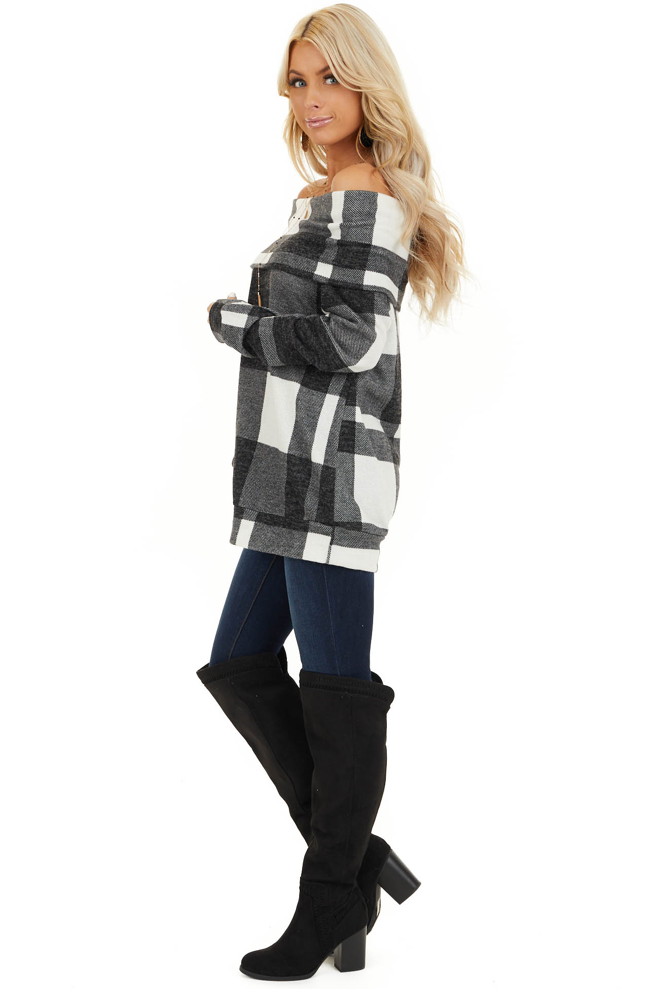 Charcoal Plaid Long Sleeve Off the Shoulder Top side full body