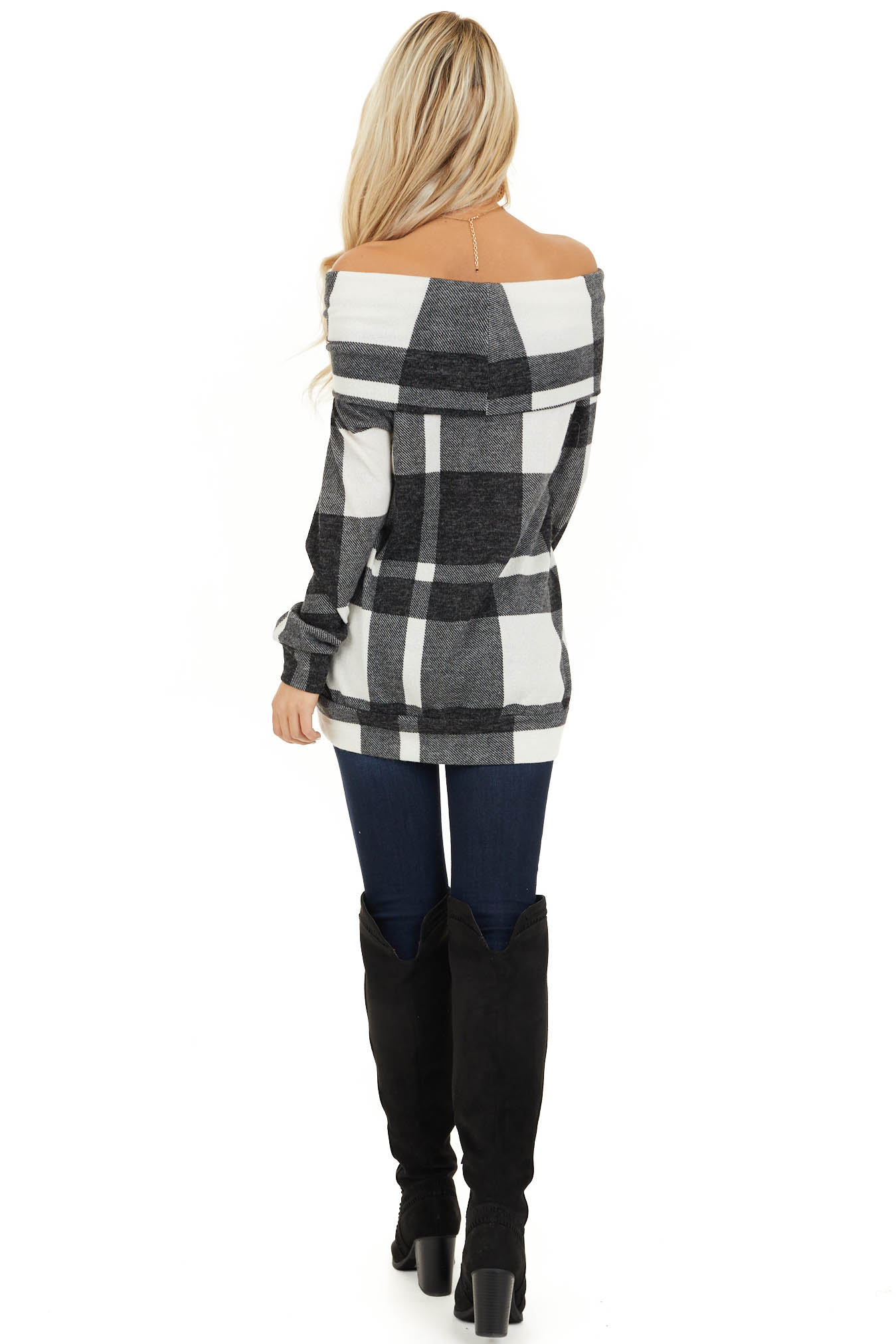 Charcoal Plaid Long Sleeve Off the Shoulder Top back full body