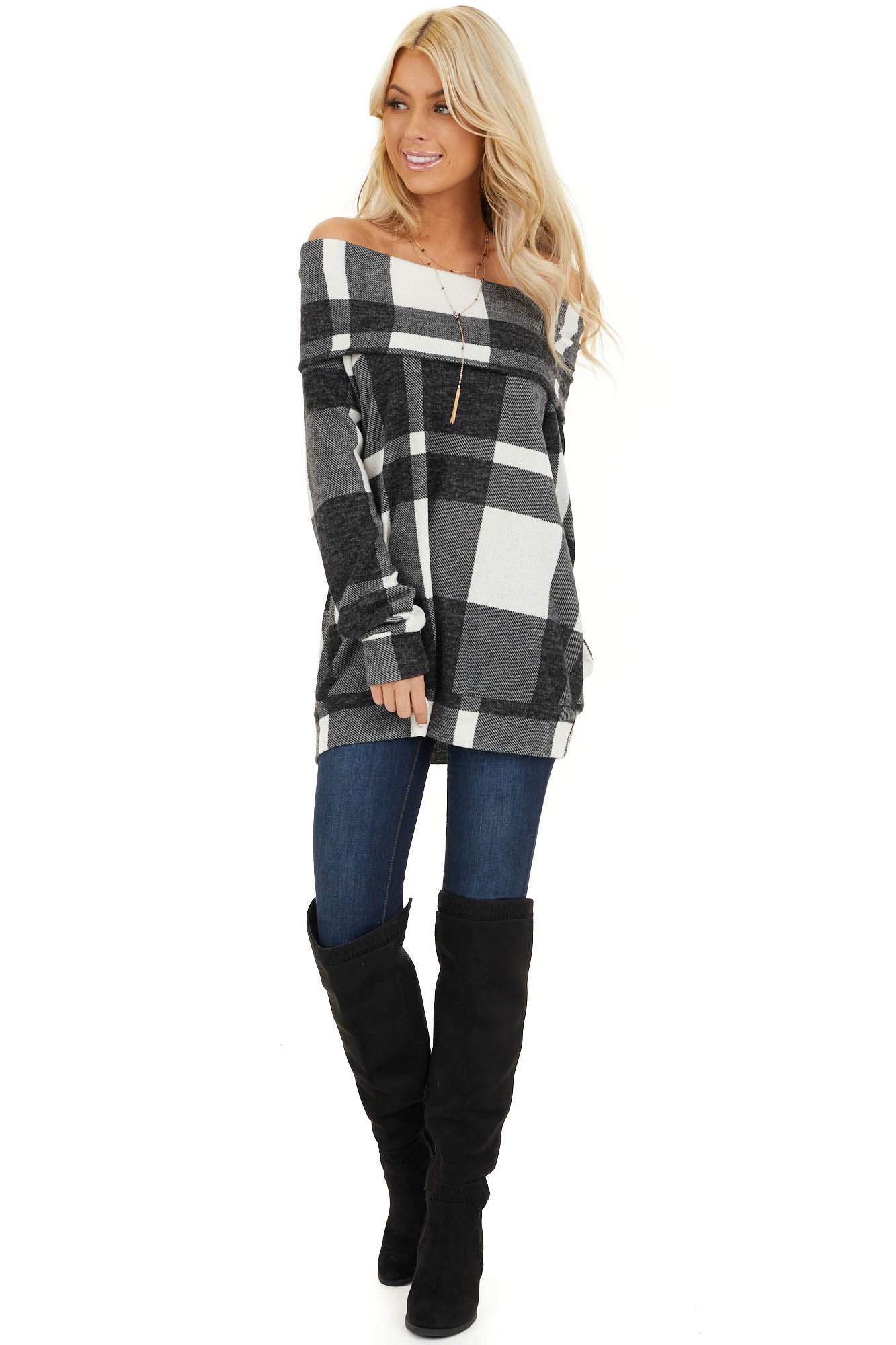 Charcoal Plaid Long Sleeve Off the Shoulder Top front full body