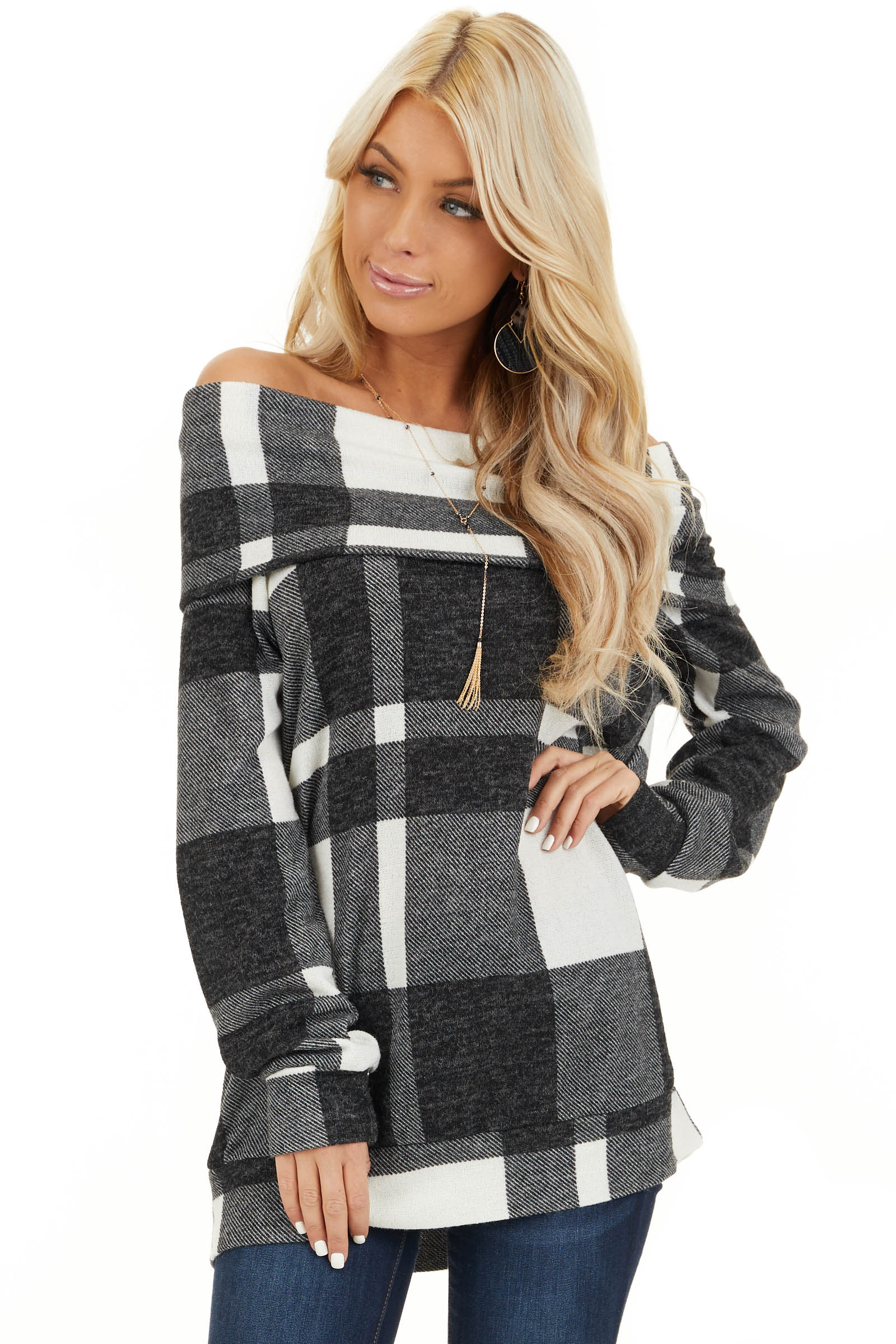 Charcoal Plaid Long Sleeve Off the Shoulder Top front close up