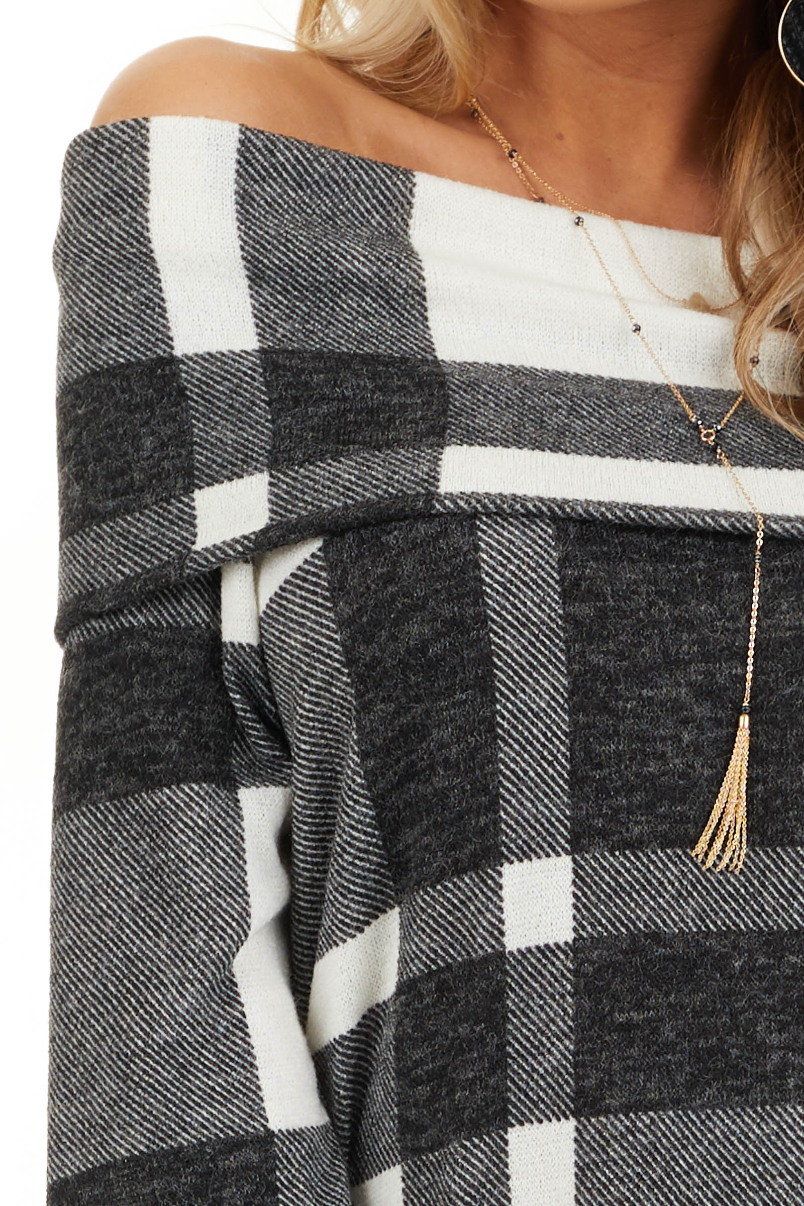 Charcoal Plaid Long Sleeve Off the Shoulder Top detail
