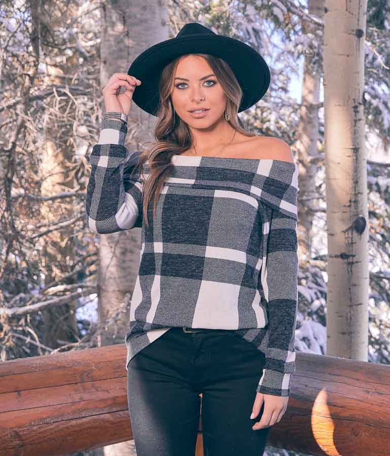 Charcoal Plaid Long Sleeve Off the Shoulder Top