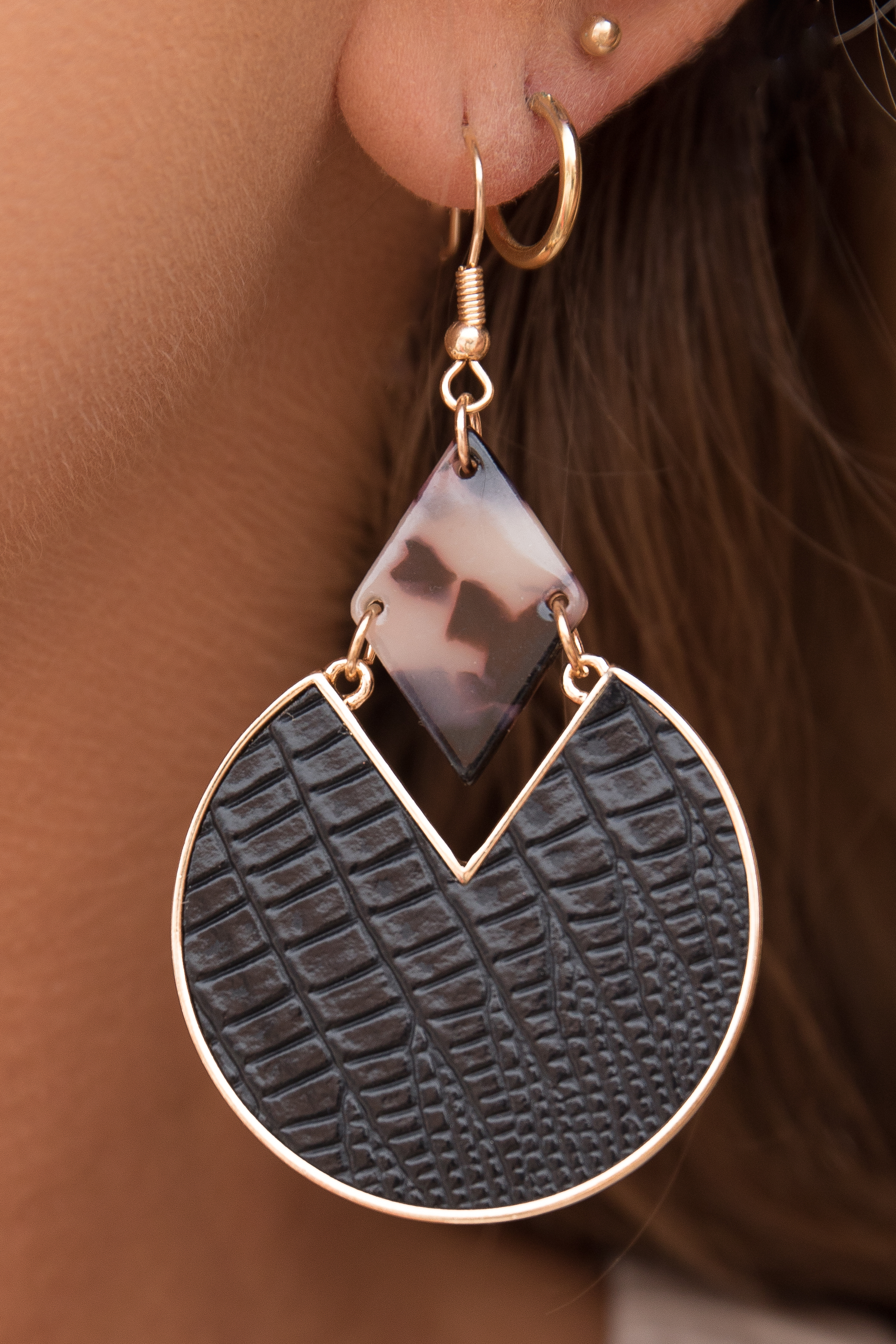 Black and Gold Geometric Earrings with Faux Leather Detail