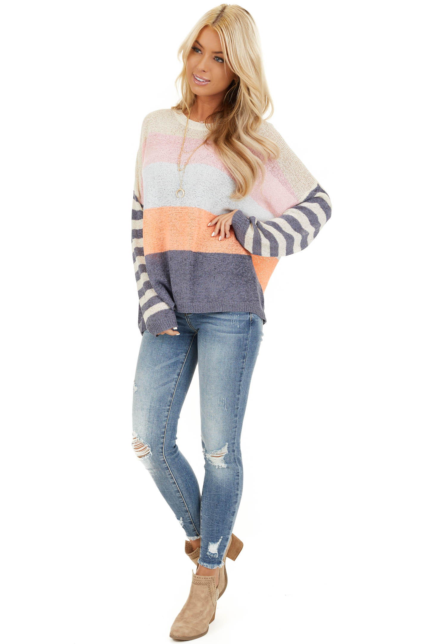 Off White and Slate Blue Color Block Striped Long Sleeve Top front full body
