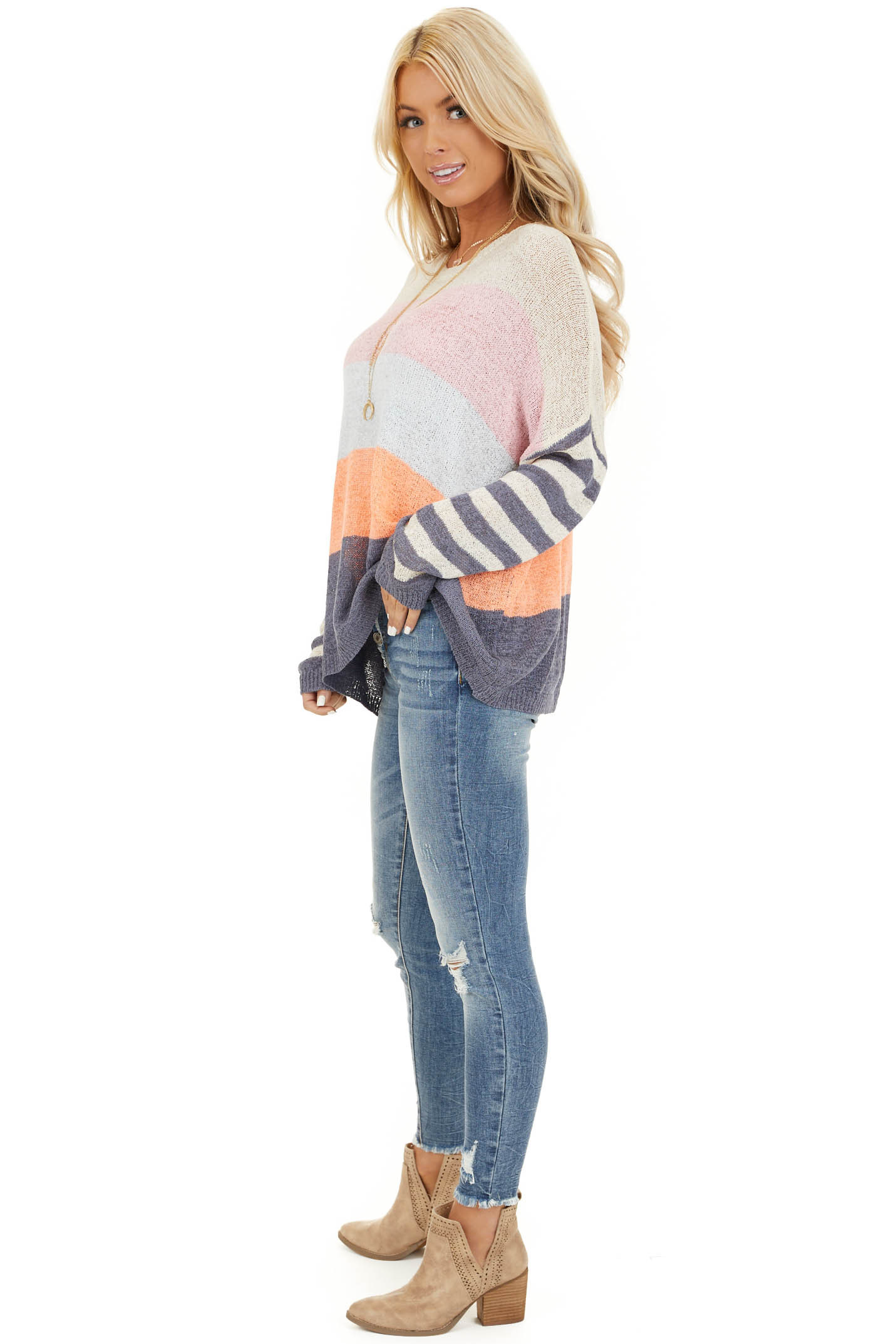 Off White and Slate Blue Color Block Striped Long Sleeve Top side full body