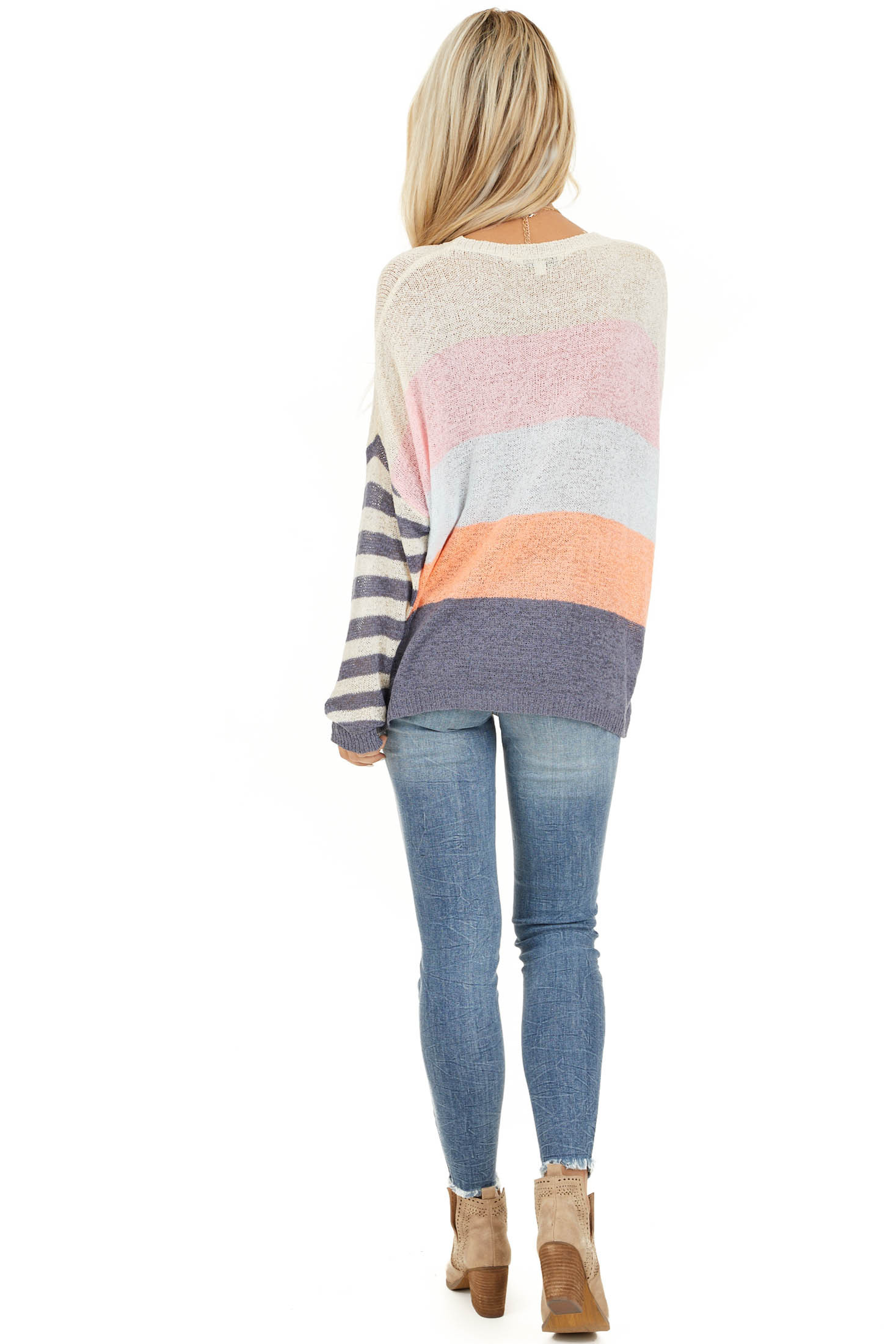 Off White and Slate Blue Color Block Striped Long Sleeve Top back full body