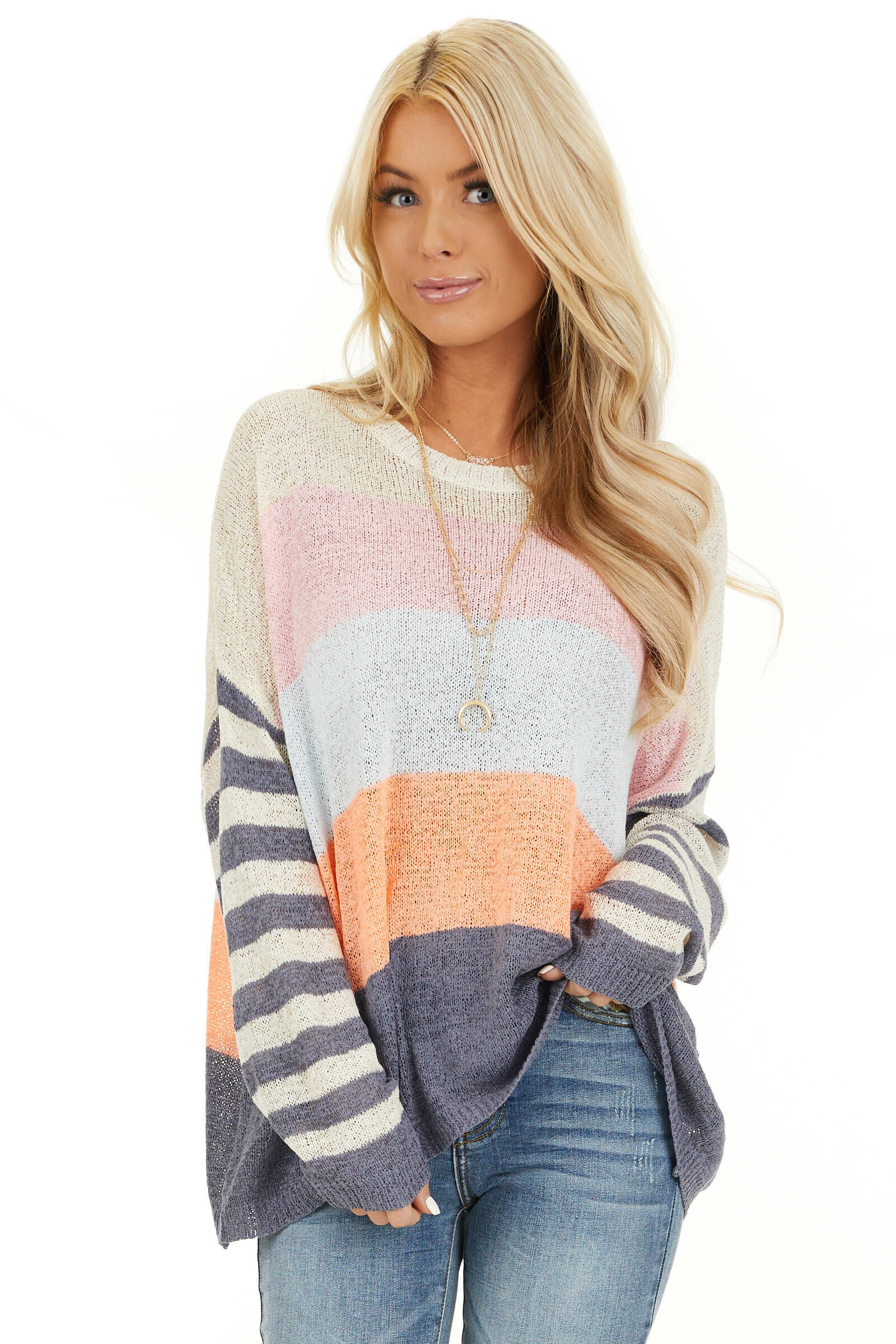 Off White and Slate Blue Color Block Striped Long Sleeve Top front close up