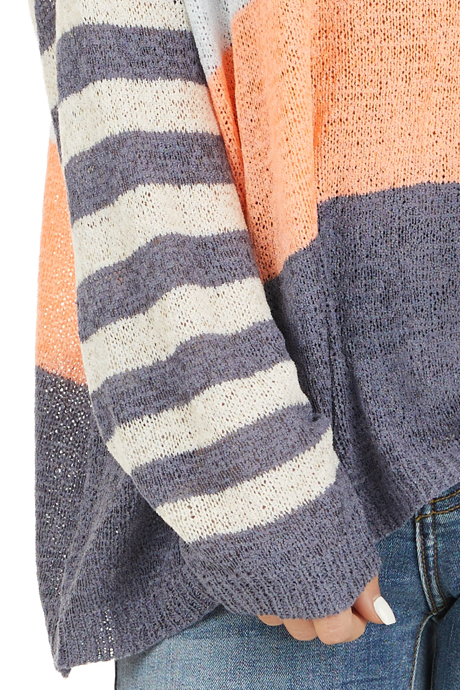 Off White and Slate Blue Color Block Striped Long Sleeve Top detail