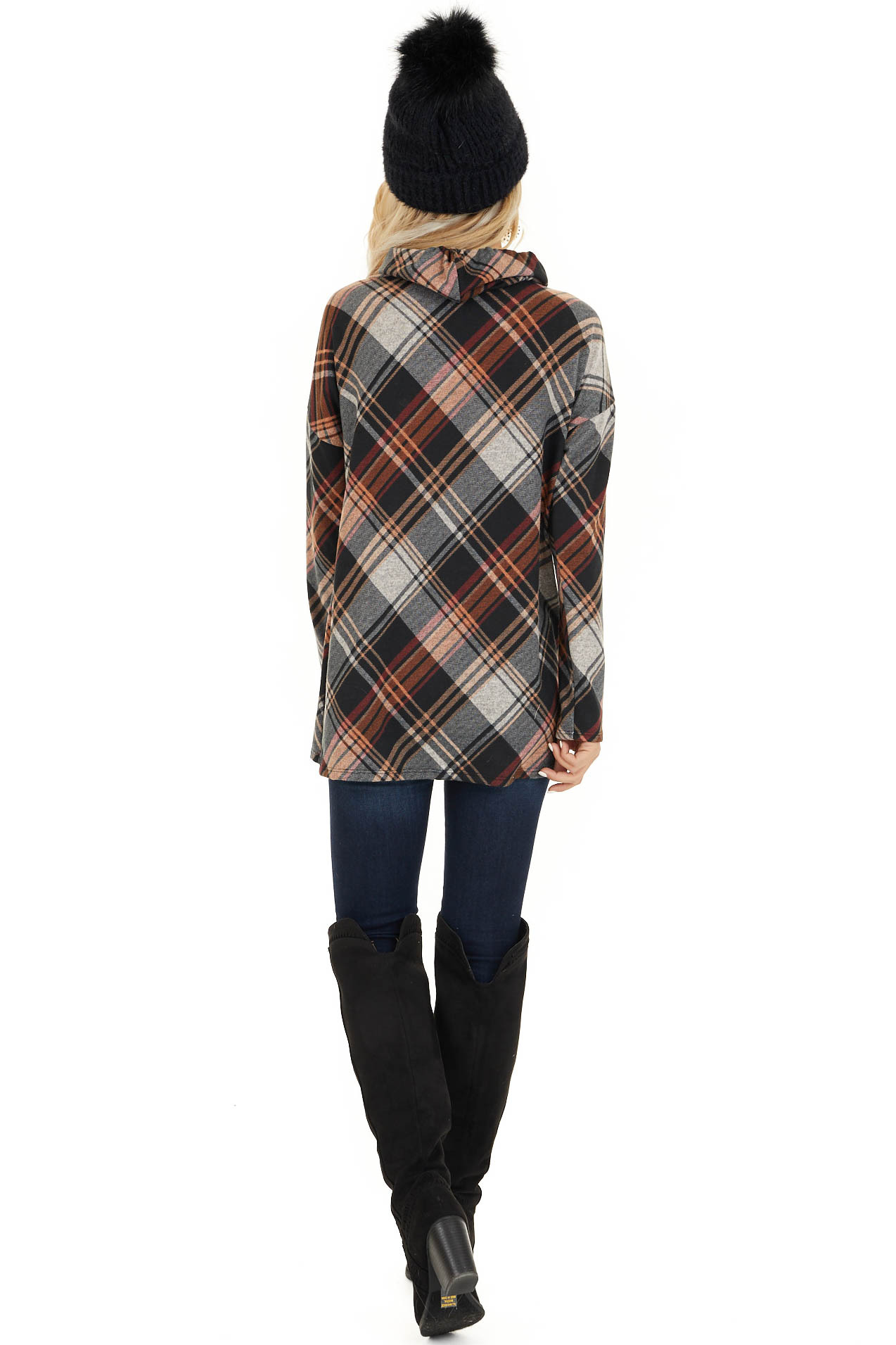Black and Tangerine Plaid Cowl Neck Top with Drawstrings back full body