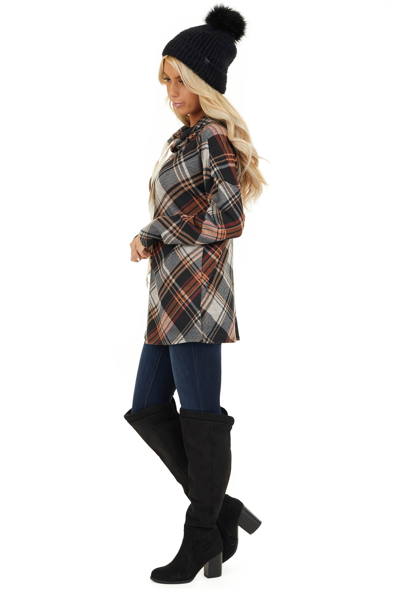 Black and Tangerine Plaid Cowl Neck Top with Drawstrings side full body