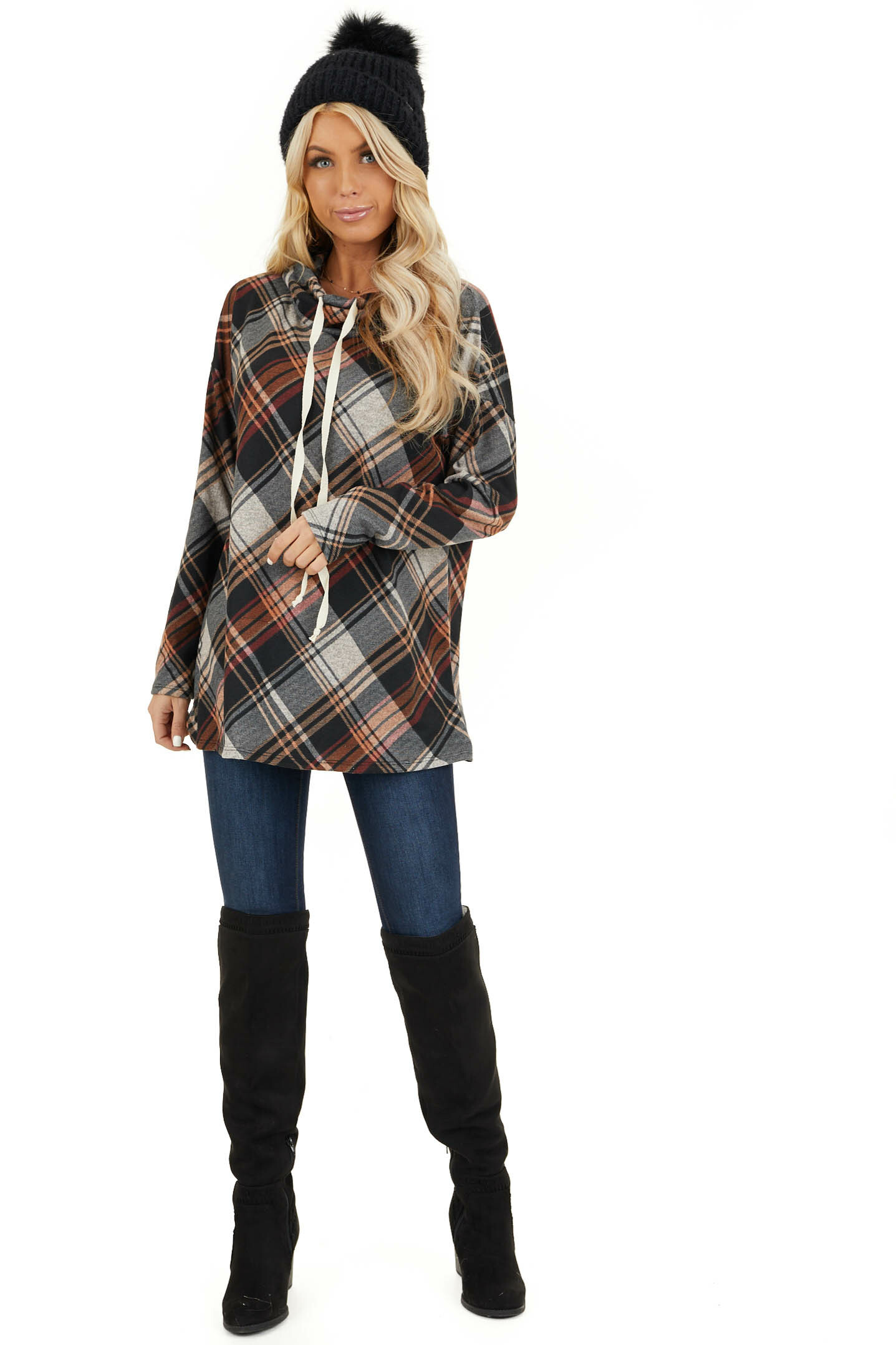 Black and Tangerine Plaid Cowl Neck Top with Drawstrings front full body