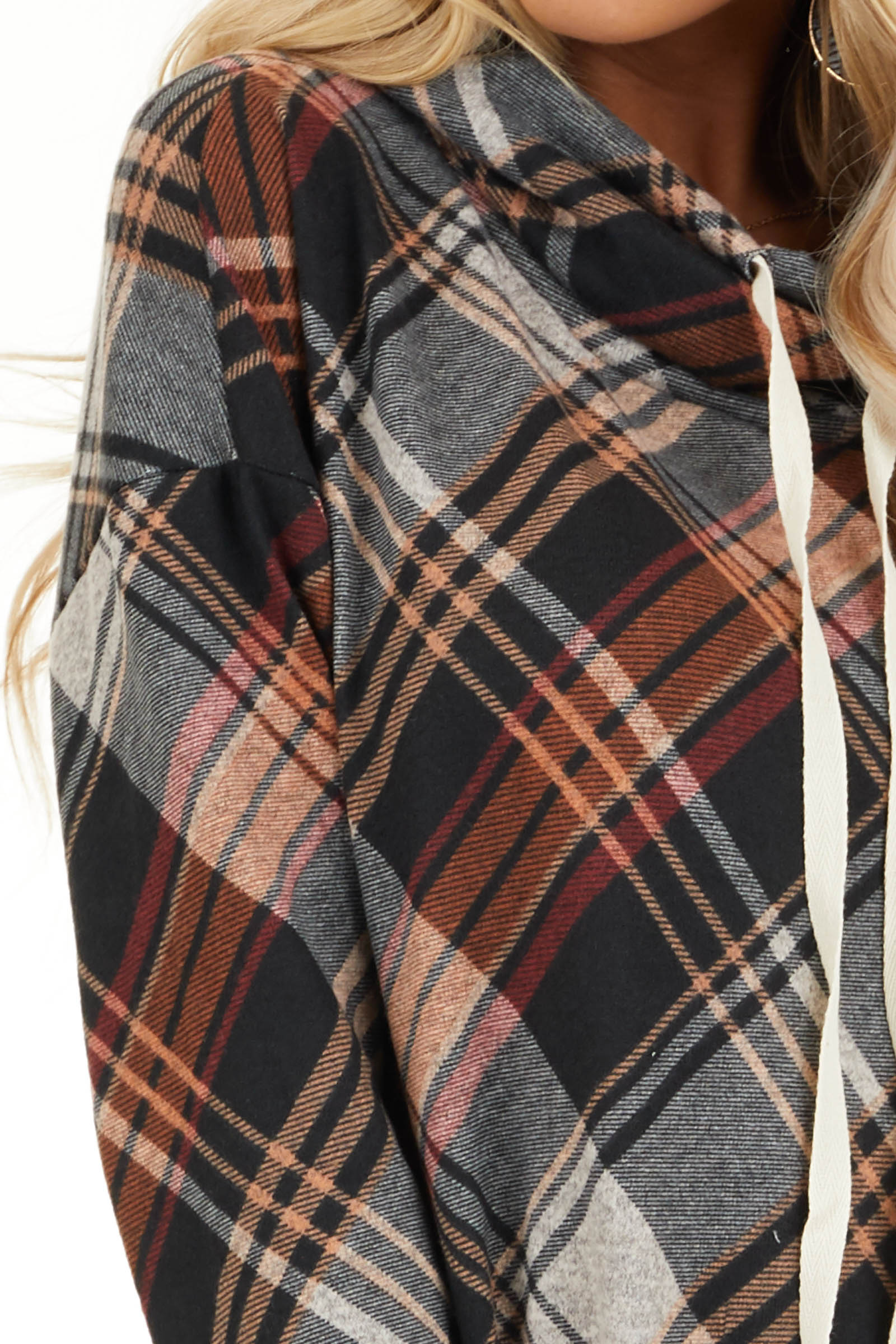 Black and Tangerine Plaid Cowl Neck Top with Drawstrings detail