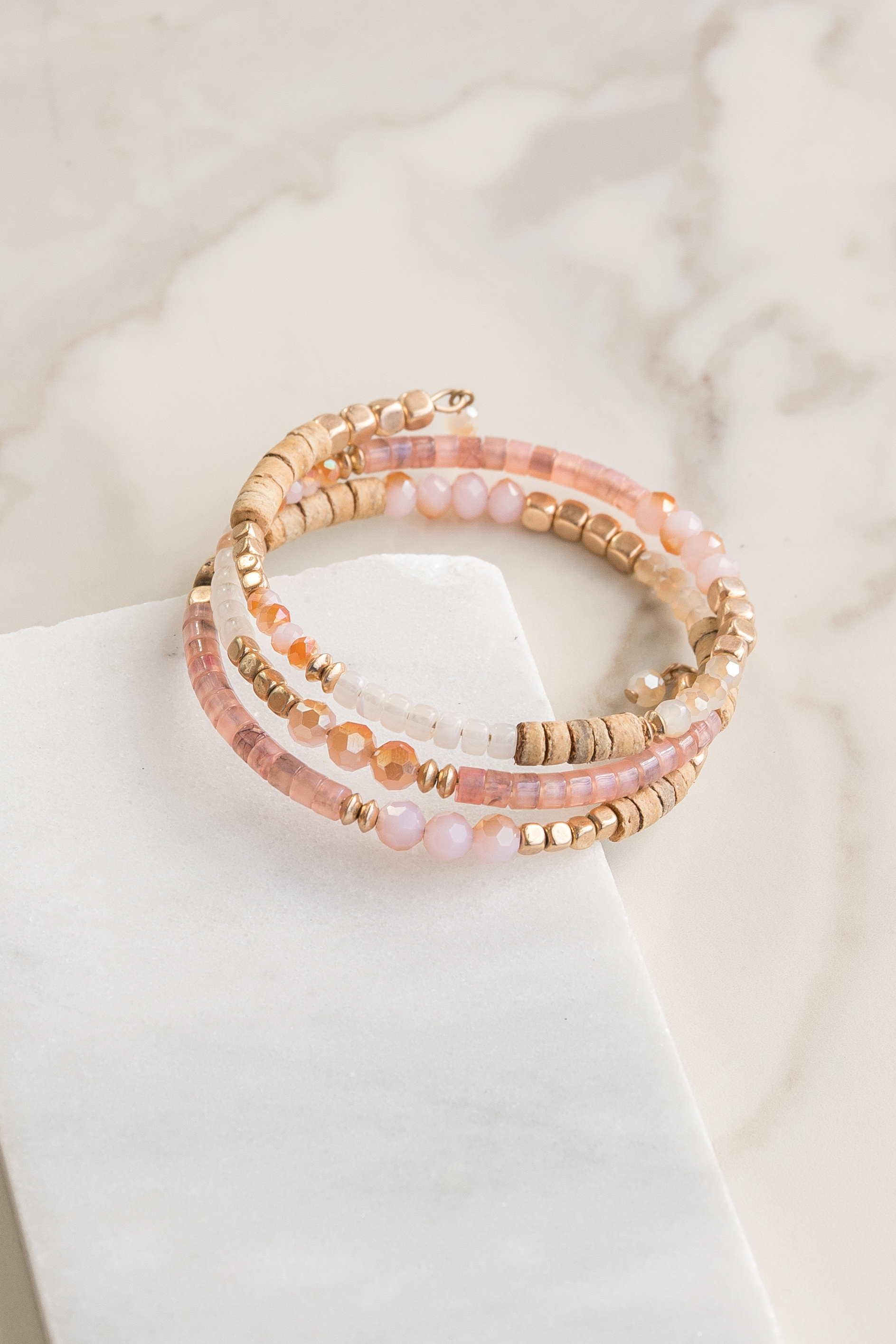 Blush Pink and Antique Gold Beaded Wrap Bracelet