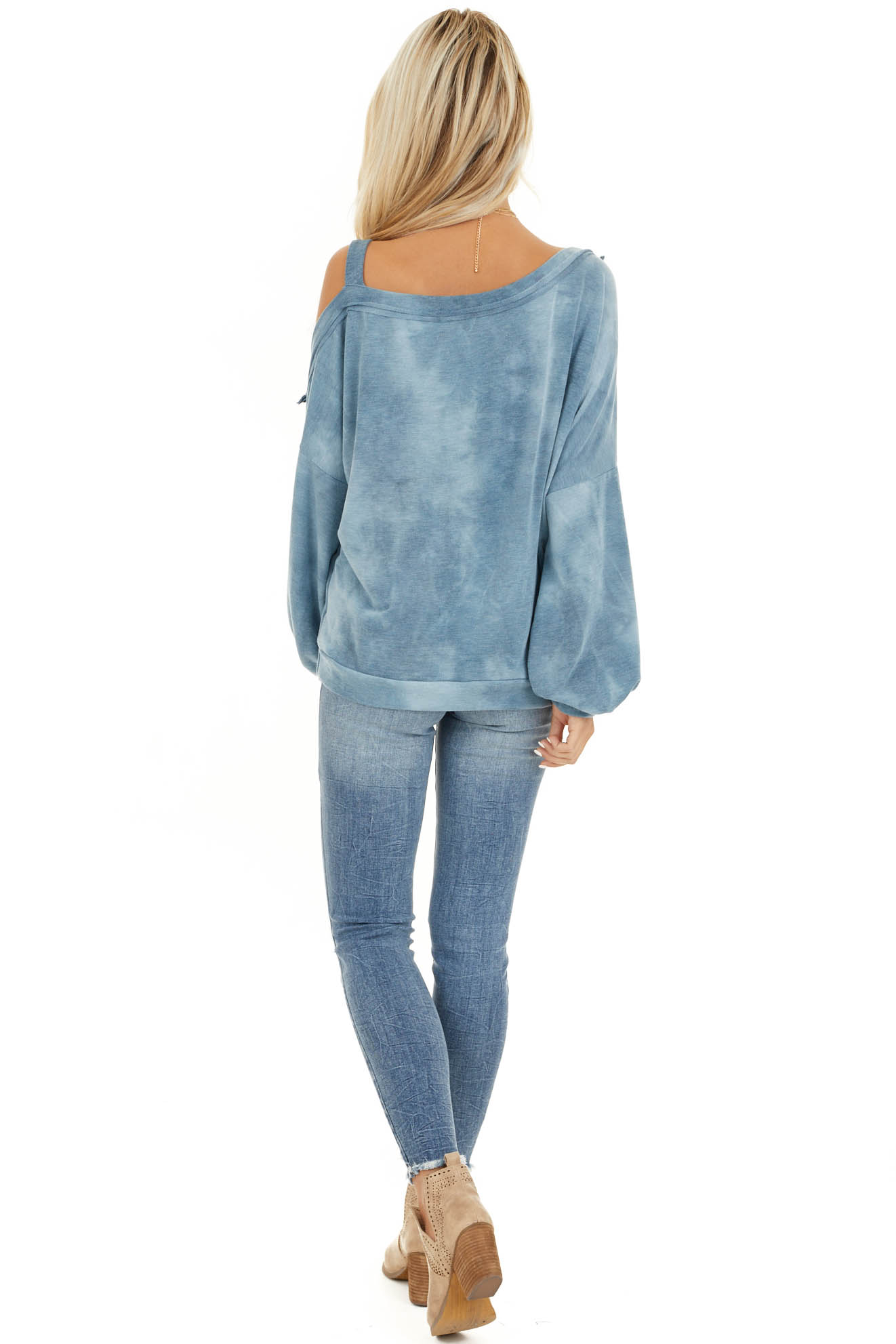 Faded Blue Acid Wash Long Sleeve Top with One Cold Shoulder back full body