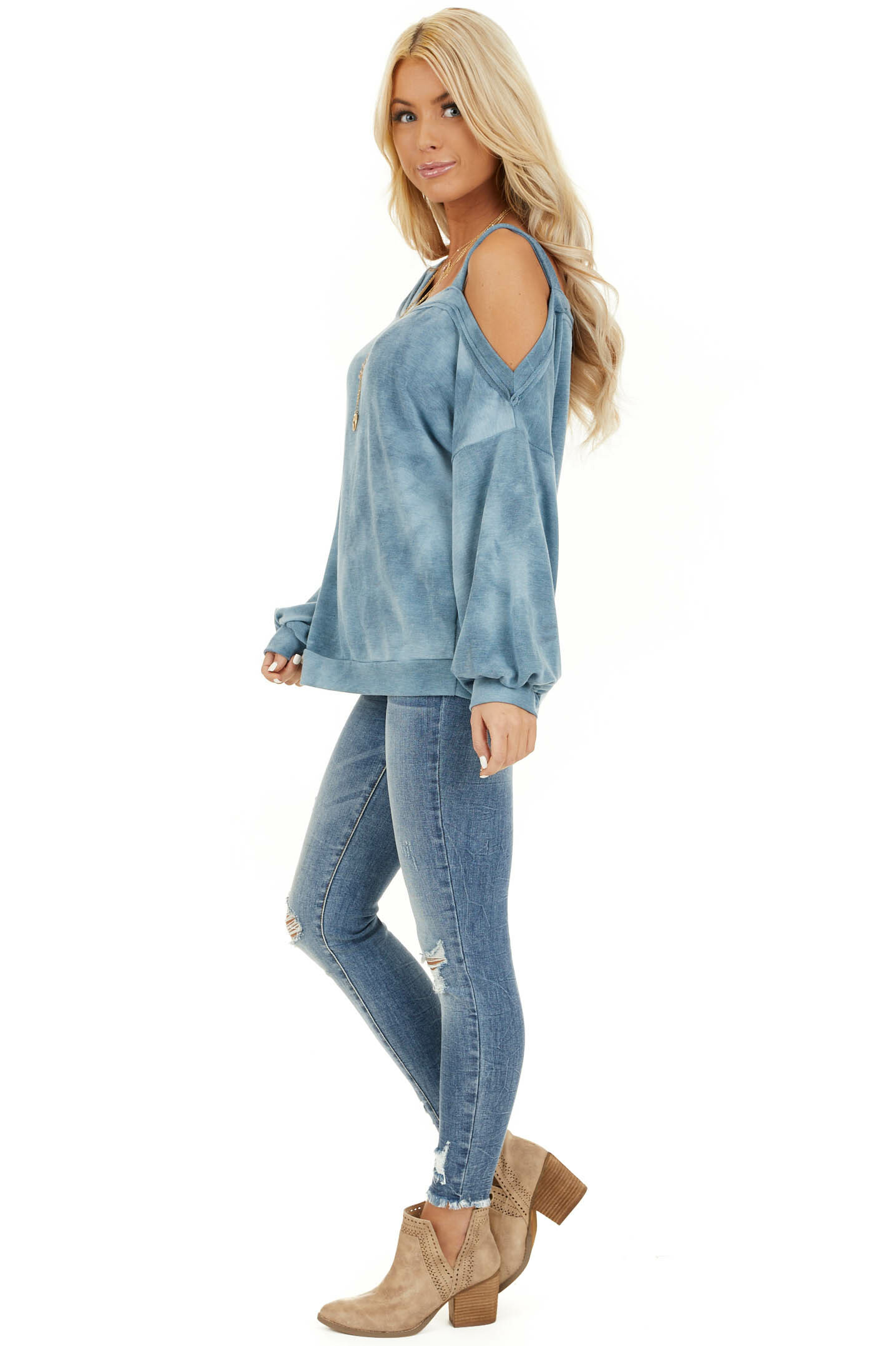 Faded Blue Acid Wash Long Sleeve Top with One Cold Shoulder side full body