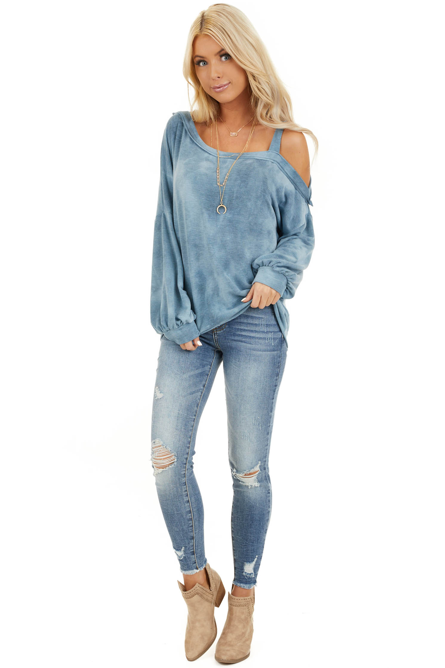 Faded Blue Acid Wash Long Sleeve Top with One Cold Shoulder front full body