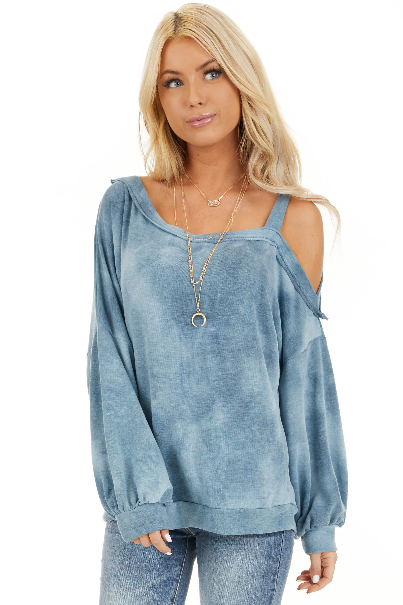 Faded Blue Acid Wash Long Sleeve Top with One Cold Shoulder front close up