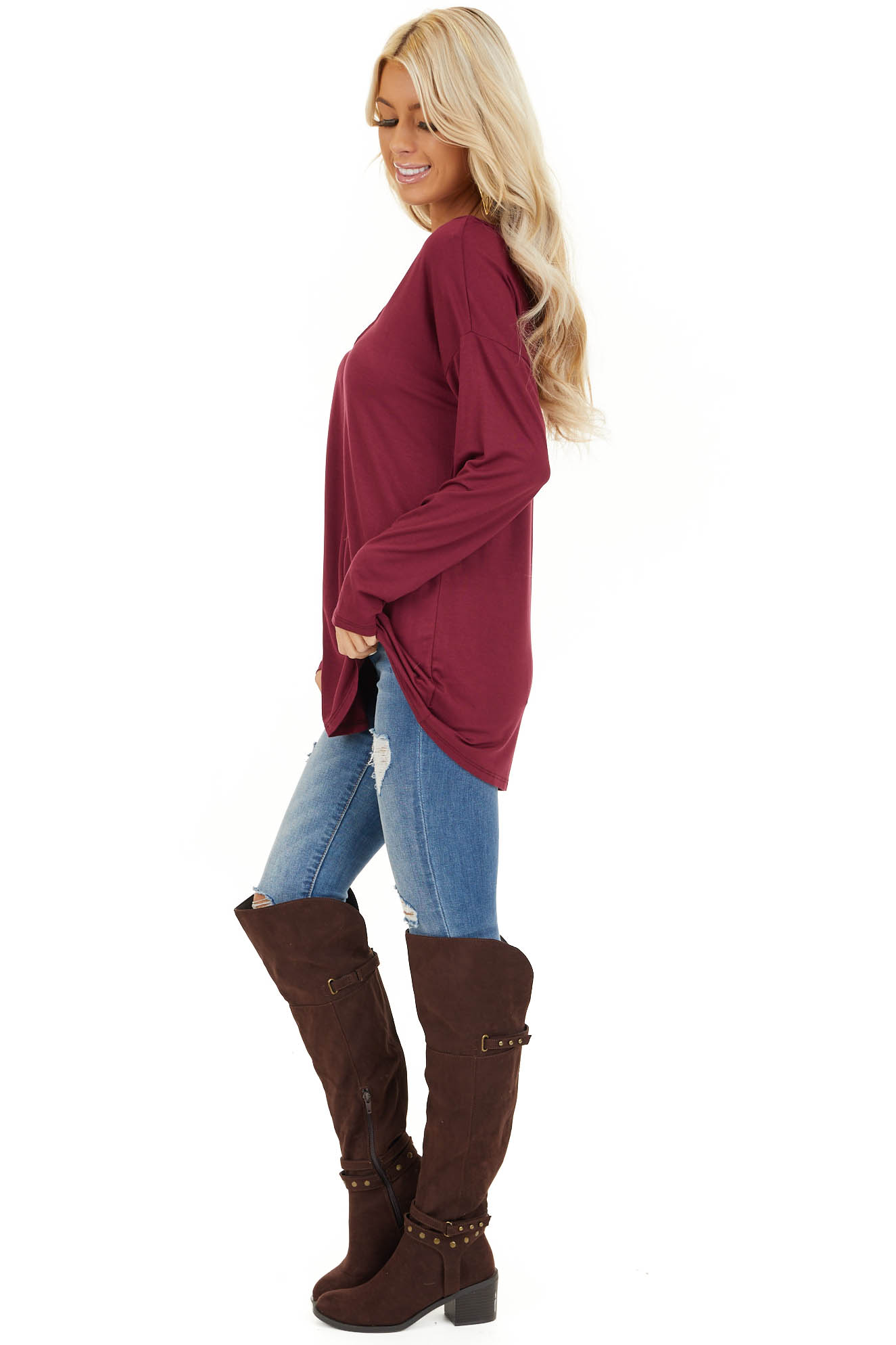 Burgundy Long Sleeve Top with Caged Neckline Detail side full body