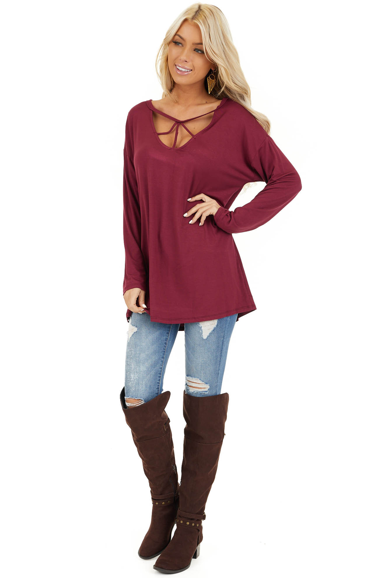 Burgundy Long Sleeve Top with Caged Neckline Detail front full body