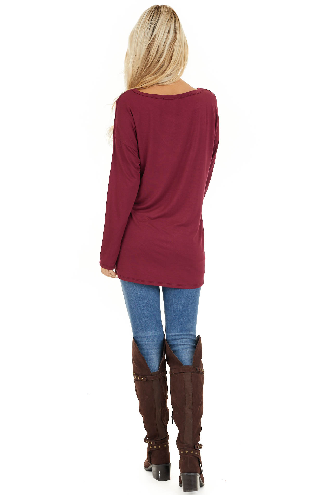 Burgundy Long Sleeve Top with Caged Neckline Detail back full body