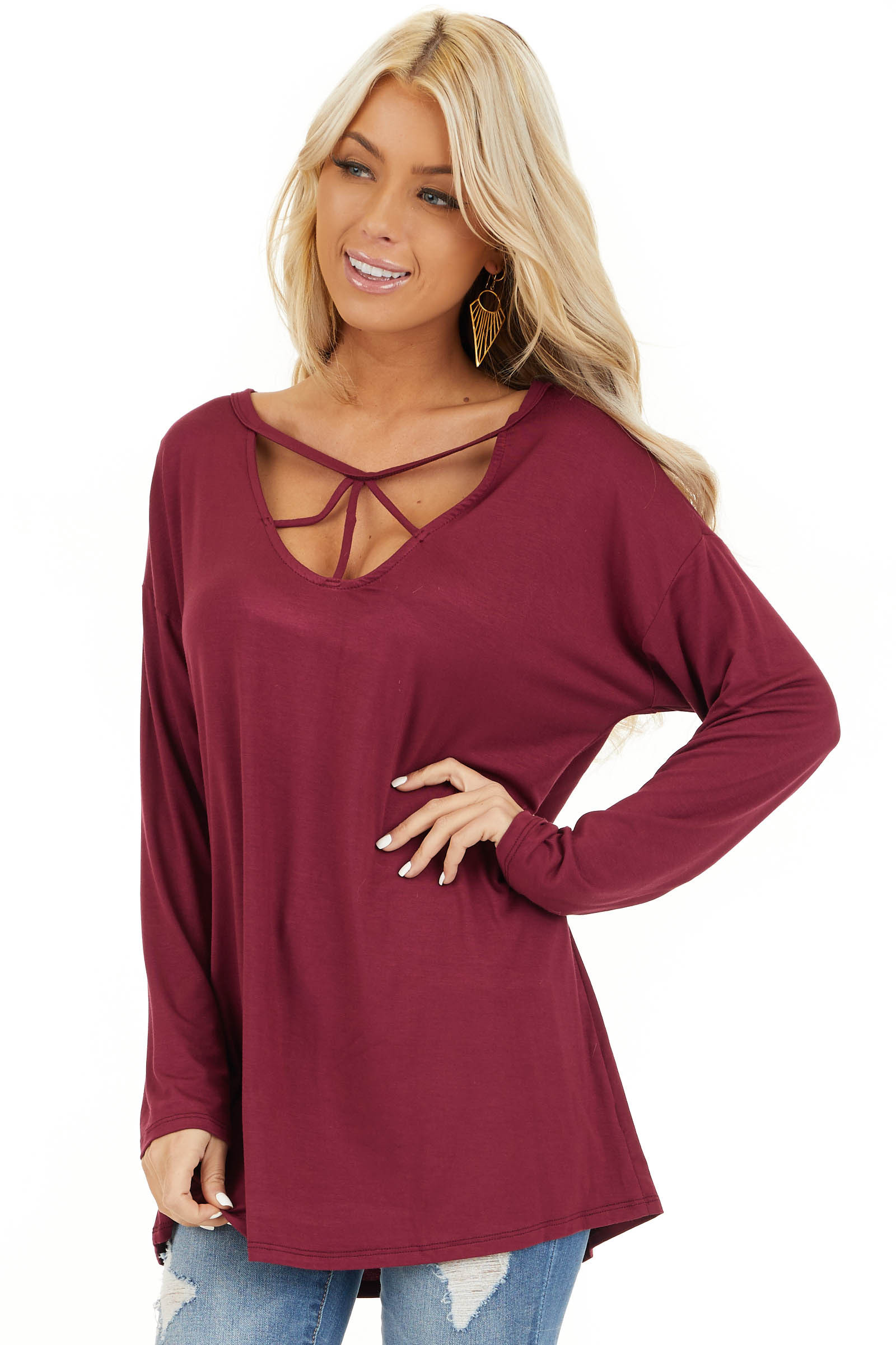 Burgundy Long Sleeve Top with Caged Neckline Detail front close up