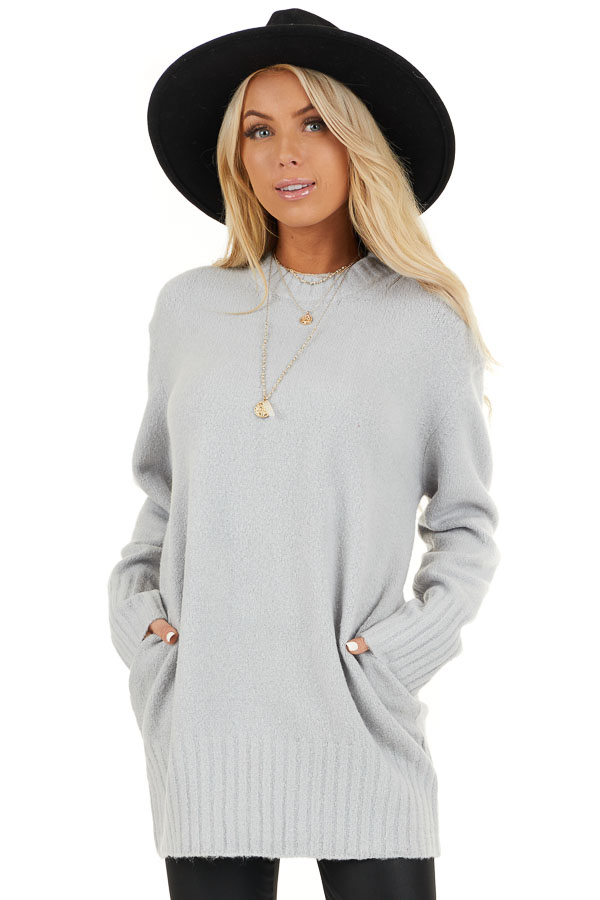 Pale Grey Long Sleeve Sweater Top with Ribbed Hemlines front close up