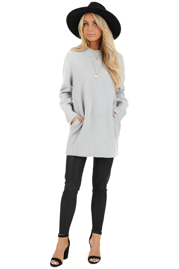 Pale Grey Long Sleeve Sweater Top with Ribbed Hemlines front full body