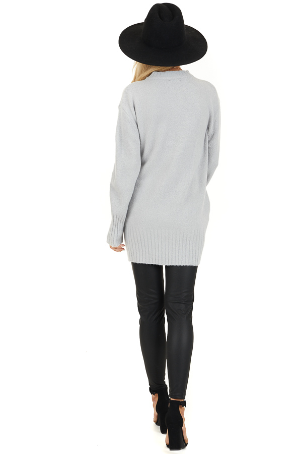 Pale Grey Long Sleeve Sweater Top with Ribbed Hemlines back full body