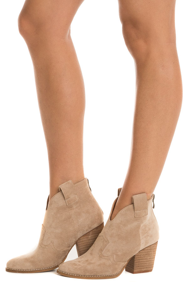 Tan Western Style Pointed Toe Heeled Booties side view