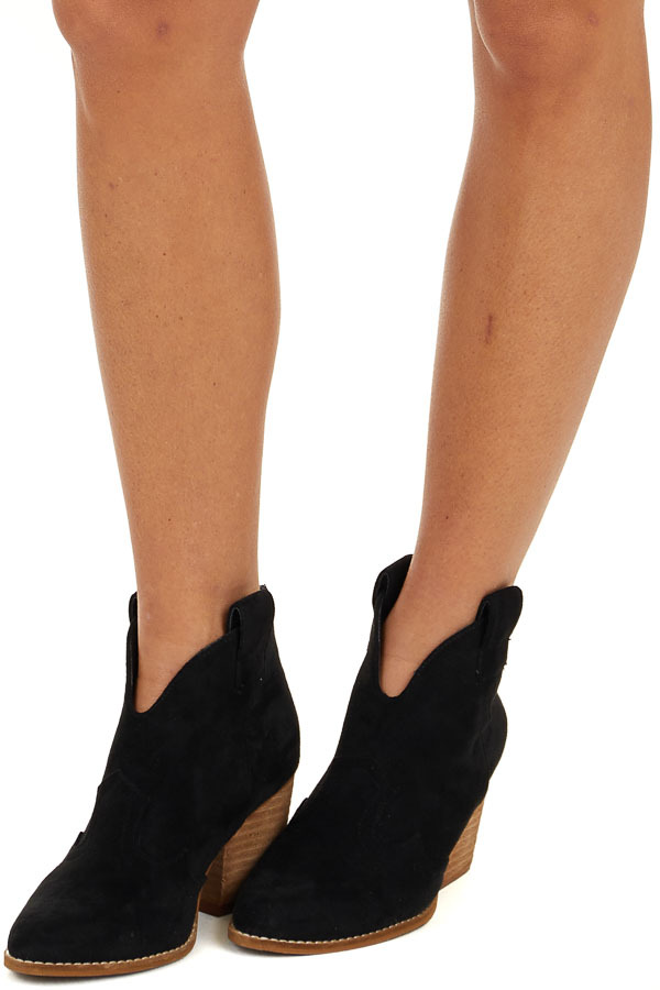 Black Western Style Pointed Toe Heeled Booties side view