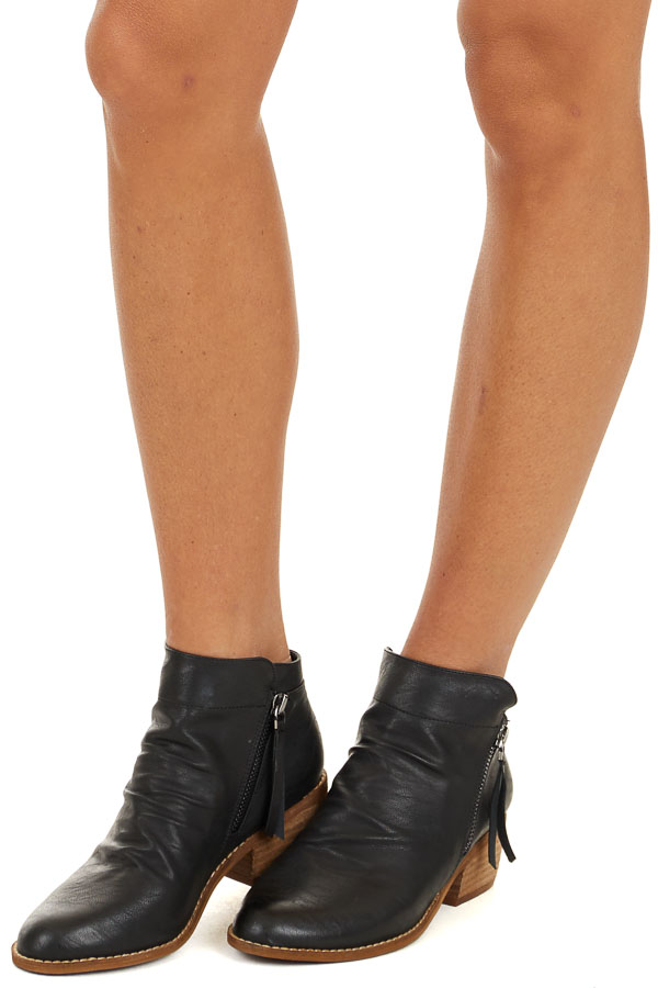 Black Faux Leather High Heeled Booties side view