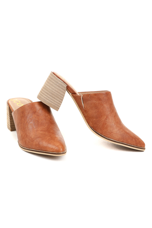Clay Faux Leather High Heeled Open Back Shoe