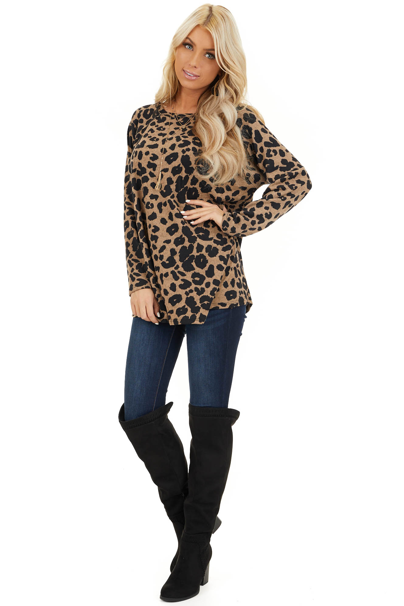 Taupe and Black Animal Print Long Sleeve Top front full body