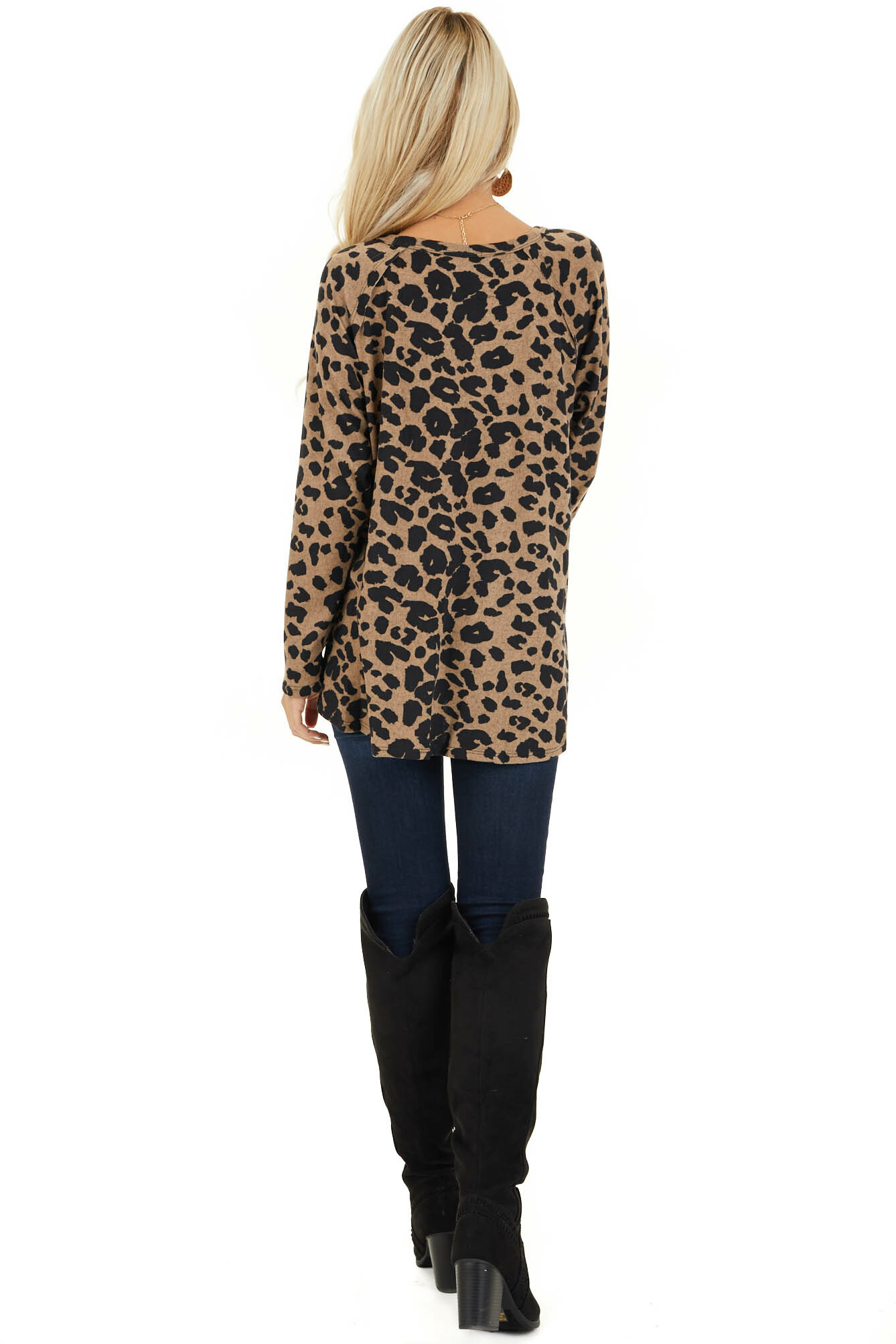Taupe and Black Animal Print Long Sleeve Top back full body