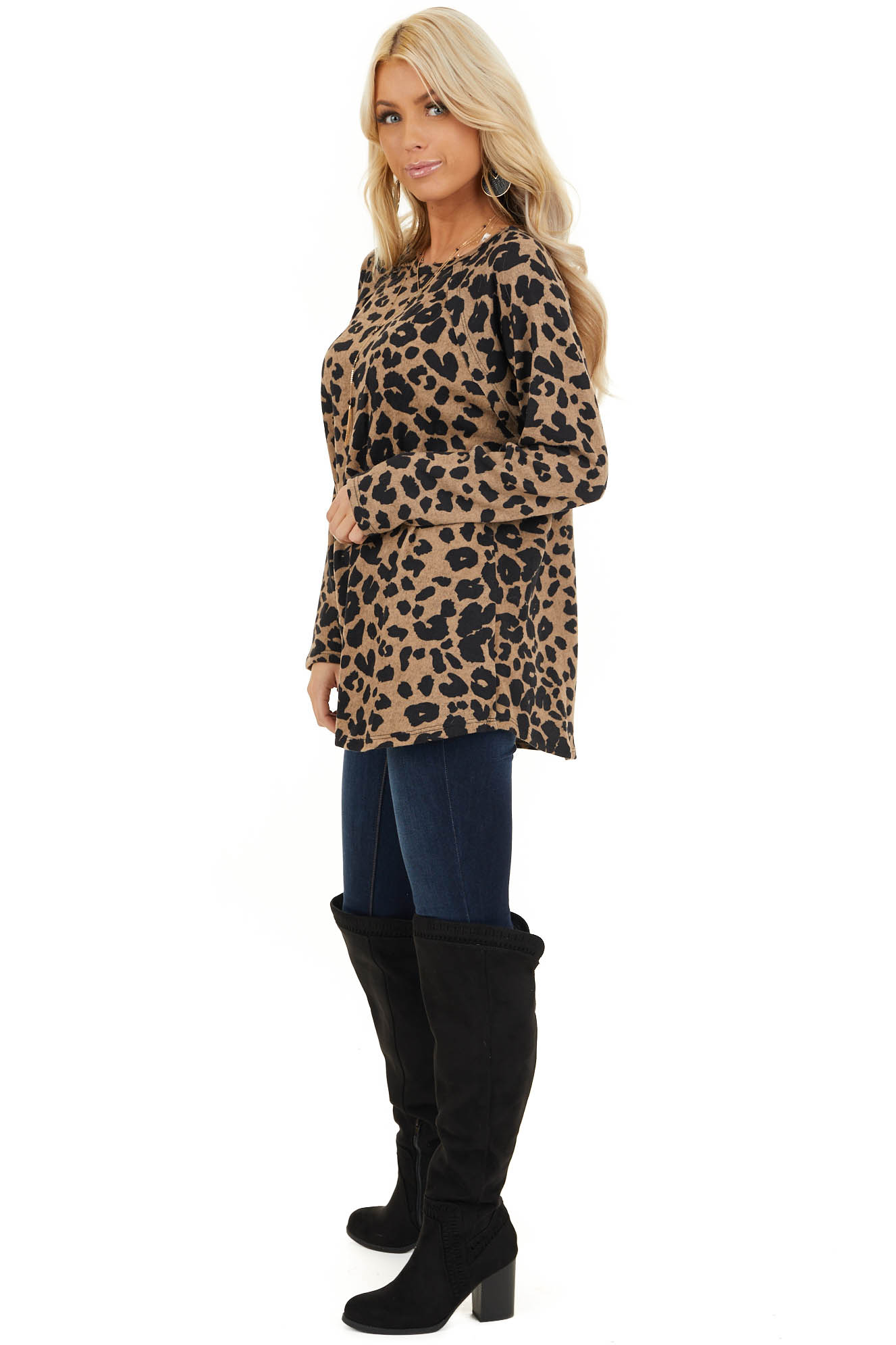 Taupe and Black Animal Print Long Sleeve Top side full body