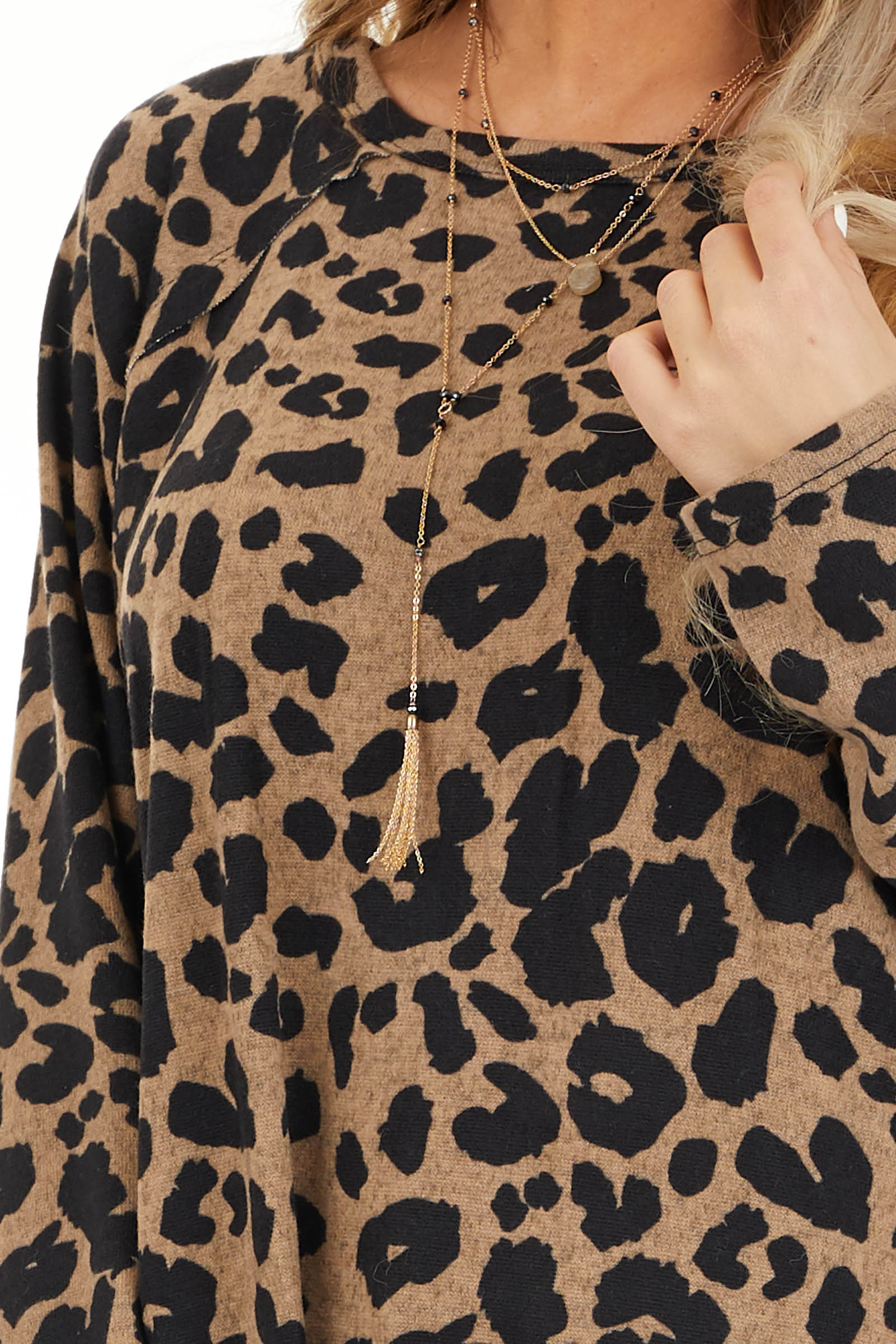 Taupe and Black Animal Print Long Sleeve Top detail