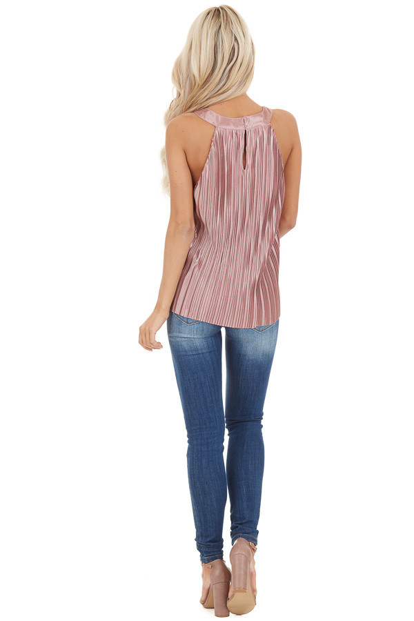 Mauve Silky Pleated Sleeveless Tank with Keyhole Back back full body